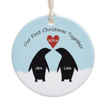 Personalized Ceramic Christmas Tree Decoration Bauble - Penguin Couple Design - First Christmas Engaged, Married, Together - Holiday Ornament